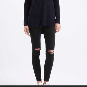 Topshop black busted knee leigh high rise jeans 28